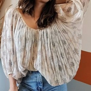 Free People One Floral Gauze Oversized Sheer Top